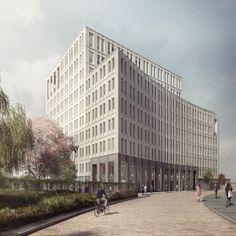 Duggan-Morris-.-BBC-Television-Centre-Plot-D-.-London-1 | a f a s i a Architecture Student, Concept Architecture, Forbes Massie, Duggan Morris, Contemporary Classic, Skyscraper, Brick, Exterior, London