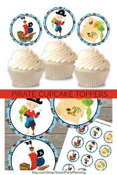 Download the set of printable pirate cupcake toppers to use at your child's pirate party. They are perfect for easy party styling and decoration. Bring the pirate theme to life with a splash of cupcake toppers over different food items. They can also be used as favor and party tags. The instant download means you can set them up right away.