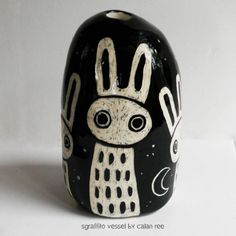 Sgraffito Ceramic Vase Bunny Rabbit Lepus Design - Hand Built Pottery by Calan Ree.
