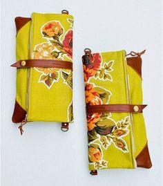 Criar com Tecidos: Carteiras dobráveis com tecido e couro.