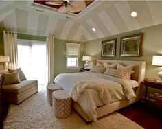 Tray ceilings are an asset to a room, but deciding how to paint them can be a challenge. I think it's best to accentuate the angles of a tray ceiling. Be bold and paint stripes or use a great accent color. This will give your space tons of personality.