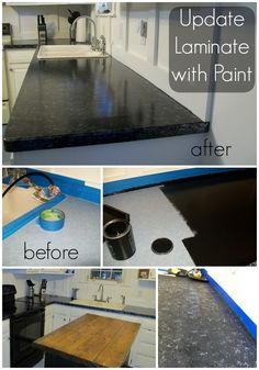How to update old laminate counter tops with Giani Granite Paint - would love to know how durable this is. I would do this in a seldom used half bath to try it out :) or a short term update to kitchen before a bigger remodel. Giani Granite, Granite Paint, Painting Bathroom Countertops, Granite Bathroom, Home Renovation, Home Remodeling, Kitchen Remodeling, Black Kitchen Countertops, Cheap Countertops