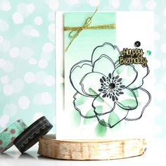 EBE Mondo Magnolia; mint; birthday; fishtail banner die; DIB; Stencil, Heat Embossing, Watercoloring.  Used products:
