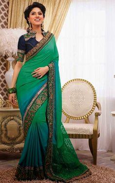 Glamorous Green and Teal Blue Color Fashion Designer Saree