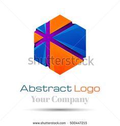 Hexagon square geometric shape Colorful Vector 3d Volume Logo Design elements. Blue, orange logo icon. Corporate identity.