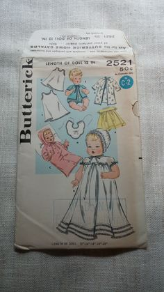 Butterick 2521  Vintage 12 Doll Clothing Sewing by RoamingThread