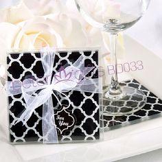 Free Shipping 300pcs=150box Black European Elegant Glass Coaster BD033 #beterwedding #weddingfavors $596.00