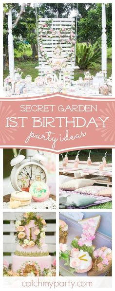 into this gorgeous Secret Garden birthday party. The birthday cake is amazing! See more party ideas and share yours at Step into this gorgeous Secret Garden birthday party. The birthday cake is amazing! See more party ideas and share yours at Garden Birthday, Fairy Birthday, 1st Birthday Girls, First Birthday Parties, Birthday Cake, Birthday Ideas, Garden Party Cakes, Garden Party Decorations, Birthday Party Decorations