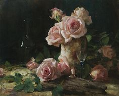 Roses with a Touch of Glass by John McCartin Oil ~ 40cm x 50cm