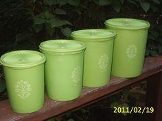 Vintage Tupperware~Apple Lime Green CANISTER Set/4 Nesting~Servalier Lids/Seals on eBay