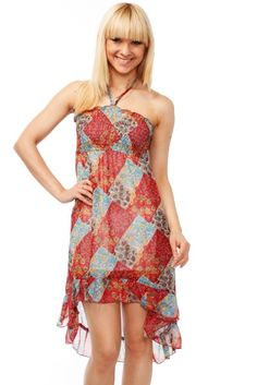 Patchwork Pattern Halterneck Dress via Amazing Fashion!. Click on the image to see more! Patchwork Patterns, Dress P, One Shoulder, Photoshoot, Summer Dresses, Wonderland, Alice, Stuff To Buy, Inspiration
