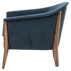 A rolled edge traces the lovely curvature of this stunning chair's arms and back, an elegant detail that gives a classic silhouette a little something. Wood Arm Chair, Upholstered Arm Chair, Upholstered Furniture, Furniture Chairs, Blue Armchair, Blue Fabric, Mid Century, Antiques, Classic