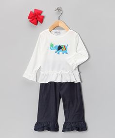 Take a look at this White & Denim Elephant Ruffle Pants Set - Infant, Toddler & Girls on zulily today!