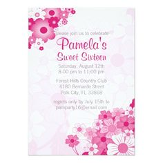 Pretty Pink Sweet 16 Birthday Party Invitations