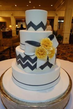 Tier luxury cake - love the chevron in grey