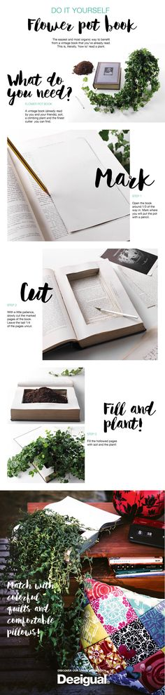 Some books hide much more than words inside them. Flowers, for instance. Find some hardcover old book that has already served its purpose (not your favorite First Edition!), and give it a second life creating a planter in between its pages.