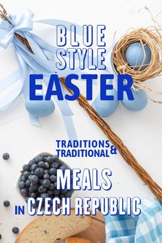 Stock Photo - Easter breakfast or brunch table in blue style, embellished with Easter symbols, traditional Czech Easter pastry Mazanec, Pomlazka and eggs Easter Symbols, Brunch Table, Easter Traditions, Blue Fashion, Czech Republic, Photo S, Stock Photos, Meals, Traditional