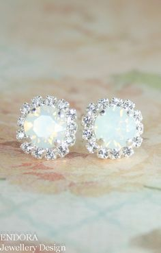 White Opal Crystal Stud Bridal Wedding Earrings, Jewelry Gift for Bridal or Bridemaid