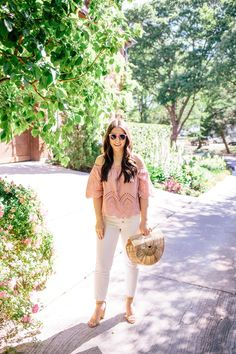 Pink Eyelet Off the Shoulder on Waketon Road Blog