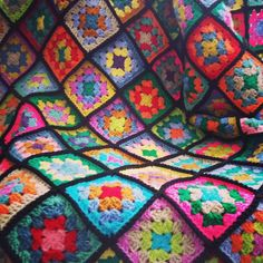Crochet Blanket Afghan Stained Glass Granny by Thesunroomuk