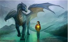 Blauer Drache schützt Mensch vor Regen You are in the right place about final fantasy art Here we of Mandala Nature, Dragon Artwork, Cool Dragons, Dragon Pictures, Blue Dragon, Dragon Girl, Dragon Rider, Mythological Creatures, Magical Creatures