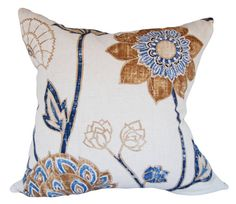 """This Harlequin Zahana Floral Decorative Pillow Cover is a Gorgeous Modern Throw Pillow, that Showcases the ..""""ZAHANA 1241"""".. Print Designer Pattern, From the Lalika Fabrics Collection.  This Pattern Features a Large Scale Floral and Winding Vine Design in Vibrant Colors that Include Cobalt Blue, Bark, Gold and Neutrals, Against a Cream Background, with the Same Fabric on Both Sides.  The Material for this Amazing, Botanical Trendy Accent Pillow is a Viscose / Linen Blend."""