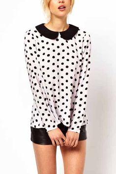 Polka Dot Print Peter Pan Collar Chiffon Shirt @ Womens Shirts & Blouses,Women Shirts,Cheap Button Down Shirts,Long Sleeve Shirts,Blouses,Peasant Blouse,Cheap Blouse,Sheer Shirts,Womens Denim Shirts,Fashion Blouse,Sexy Shirt,Collar Shirt,V Neck Blouse,Polo Shirt,Floral Print Shirt,White Blouse