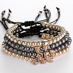 Men girl Bracelets 24K Gold Plated Skull beads & 6mm Titanium Steel Beads skull Buddha Black Rope Braiding Men Macrame Bracelet