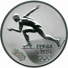 """The reverse side of the silver 3 Roubles coin """"Speed skating"""" depicts the relief image of a speed skater and a Common yew, the latter performed in color. The inscription at the bottom says """"СОЧИ 2014"""" (SOCHI 2014) in two lines and the depiction of five Olympic rings is under it."""