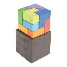 [Grimm's Spiel & Holz Design グリムス社]キューブボックス 9P ドイツ・グリムス社の美しい色彩のL字型キューブパズル9ピースです。立体的な造形遊びが創造的に楽しめます。