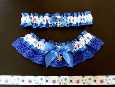 Royal Blue Winter Snowflake Garter Set Snow by PikesPeakCreations