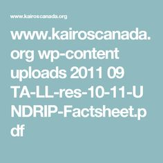www.kairoscanada.org wp-content uploads 2011 09 TA-LL-res-10-11-UNDRIP-Factsheet.pdf Plan Ahead Meals, Food Substitutions, Content, How To Plan, Social Studies, Sociology, Social Science