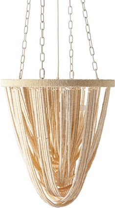Strands of woven coconut beads create fabulous movement in this stylish chandelier. Try it as a statement piece in the foyer or above a dining table. Chandelier Pendant Lights, Chandelier Ideas, Chandeliers, Coastal Lighting, Keep An Eye On, Wood Glue, Lily, Pendants, Ceiling Lights