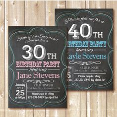 Chalkboard invitation. Birthday Party by Alapipetuadesign on Etsy