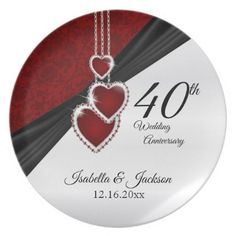 40th Wedding Anniversary Keepsake Design Dinner Plate - kitchen gifts diy ideas decor special unique individual customized