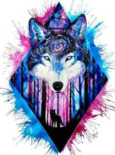 galaxy wolf Art Print by Jonna Lamminaho Galaxy Wolf, Galaxy Art, Animal Drawings, Cool Drawings, Art Galaxie, Wolf Wallpaper, Galaxy Wallpaper, Wolf Spirit, Wolf Tattoos
