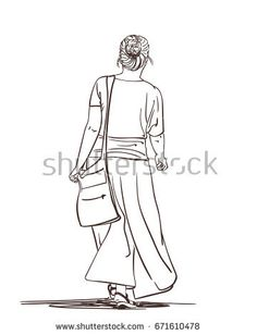 Hand drawn line art illustration of woman in long skirt walking, Vector sketch isolated on white background, Back view