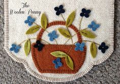 Wool Penny Rug Candle Mat Runner Blue Flowers. Inspired by a Primitive Gatherings Pattern.
