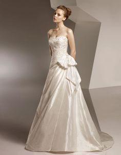 Taffeta Softly Curved Neckline Ruched Bodice A-line Wedding Dress