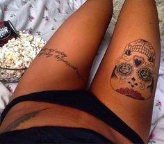 Candy skull. Thigh piece.