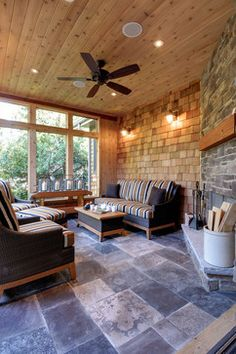 Four Season Room Design Ideas, Pictures, Remodel and Décor.  Love the walls, and ceiling in wood.  Love the tile floor.