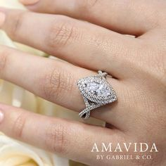 Gabriel & Co.-Voted #1 Most Preferred Fine Jewelry and Bridal Brand. 14k White Gold Marquise Double Halo  Engagement Ring
