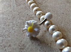 Small Daisy White Belly Ring Navel Ring Stainless Steel Body Jewelry