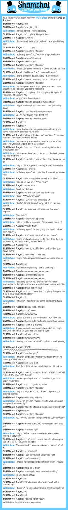 A conversation between Sick!Nico di Angelo and Will Solace