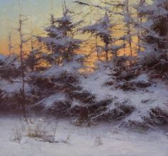 "Donald Demers ""Winter Sunrise, The Coming Warmth"" 8 x oil. Beautiful patterns and rhythmic shapes. Painting Snow, Winter Painting, Winter Art, Landscape Artwork, Beautiful Paintings, Pastel Paintings, Winter Landscape, Tree Art, Artist Art"