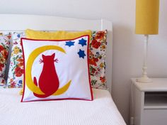 Boys Room Decor Pillow Cover  Cat Moon and Stars by EmasCorner