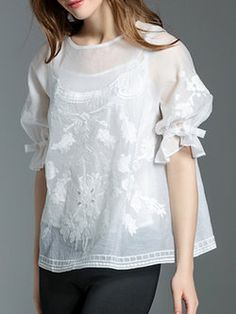 White Casual Embroidered Two Piece Crew Neck Blouse