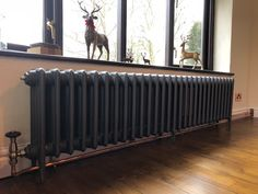 This oversize traditional radiator makes a great feature! We are often asked for extra-long radiators to fit existing pipe work or to look… Black Radiators, Old Radiators, Column Radiators, Cast Iron Radiators, Bedroom Radiators, Victorian Radiators, Traditional Radiators, Edwardian House, Brick And Wood