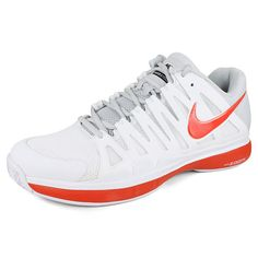 Men`s Zoom Vapor 9 Tour Tennis Shoes White/Team Orange