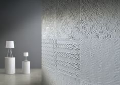 ROCCIA supply this product www.roccia.com SWEET REVOLUTION | The #idea of this #interior wall tiling comes from observing certain moulded #decorations for tapestries of the first half of 20th century, or remind one of certain #whitewashed #bedrooms then #decorated with a roller, as is #typical of a certain #Mediterranean #tradition.